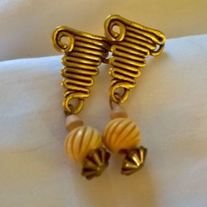 Earrings swirled metal posts wood beads